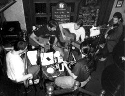 band at the polo pub, dark & grainy