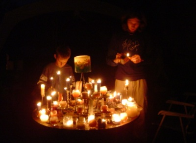lighting candles saturday night at winfield.