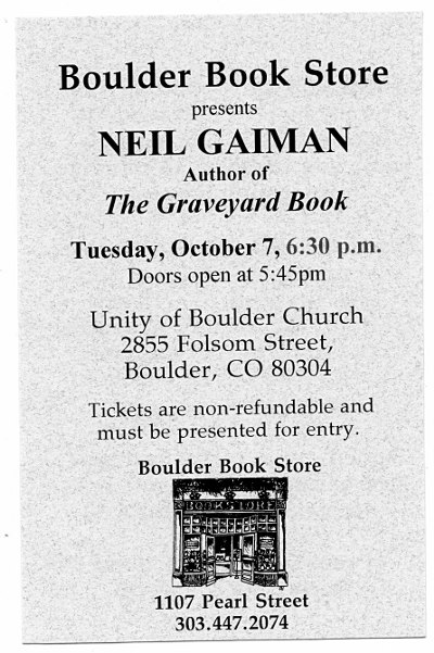 Neil Gaiman reading ticket