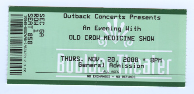 Old Crow Medicine Show ticket